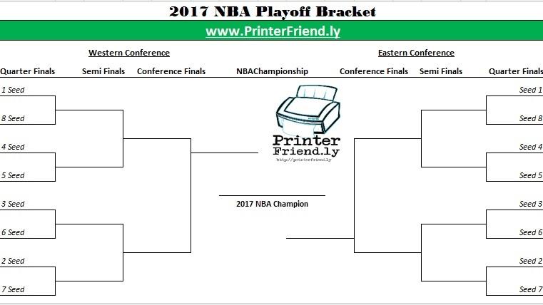 NBA Playoff Bracket 2017 - PrinterFriendly